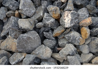 gray limestone rock for raw material in the construction industry.