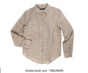 Gray linen shirt. Isolate on white background