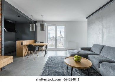 Gray living room with sofa, coffee table, balcony and kitchenette