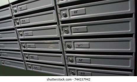 gray mailboxes