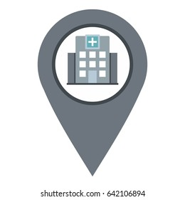 Gray map pointer with symbol hospital or medicine icon flat isolated on white background  illustration