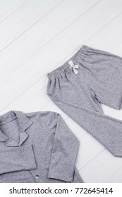 Gray melange pajama set. Made of pleasant soft cotton and roomy, loose-fitting. Loungewear for little boys.