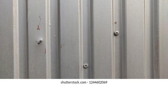 Gray metal door closeup.