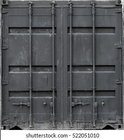 Gray metal shipping container double doors