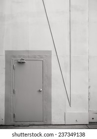Gray metal wall and armor doors.