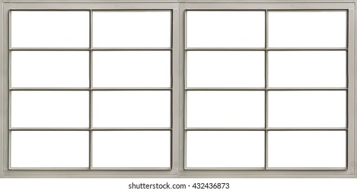 Gray metal  metal window frame isolated background