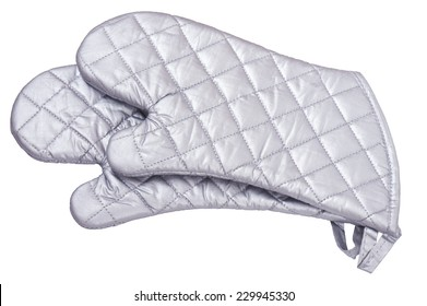 Gray metallic heat protective mittens isolated on white background