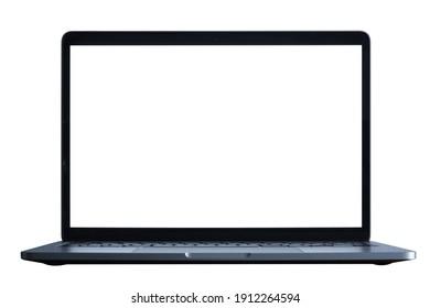 Gray metallic laptop isolated on white. Communication network. Silver metal surface. Digital modern communication. Computer technology.