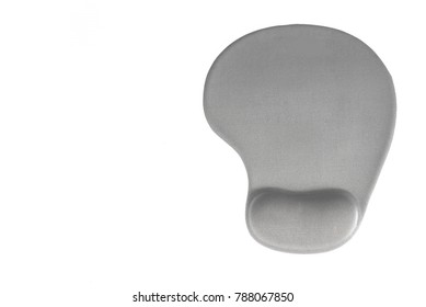 Gray mouse pad with gel wrist support on white background