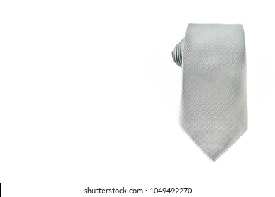 Gray necktie on white background.