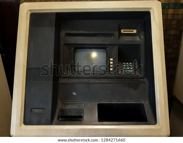 Gray Old Atm Wall Black Frame Stock Photo Edit Now 1284271660