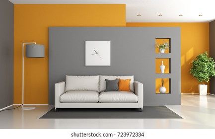 Gray and orange modern lounge with white sofa - 3d rendering