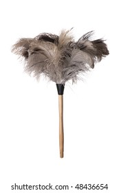 Gray ostrich feather duster with wooden handle on white background