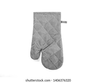 Gray oven glove isolated. Oven glove for hot dishes isolated on white, top view.