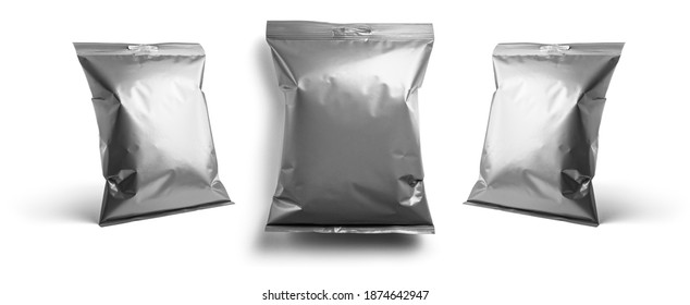 Gray packaging template for your design. In different angles on a white background
