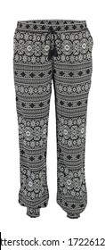 Gray with a pattern harem pants. High cut harem pants.  Isolated image on a white background.