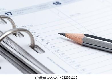 gray pencil on open business agenda