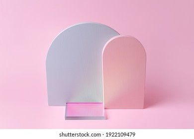 Gray and pink arches and gloss acrylic plate   on a pink background. Stylish background with various materials and geometric shapes