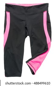 Gray and pink women's athletic pants on white