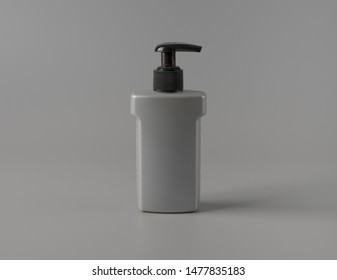 Gray plastic Pump Bottle for gel foam on gray background,Mock-up