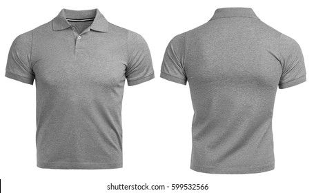 Gray Polo shirt, clothes on isolated white background