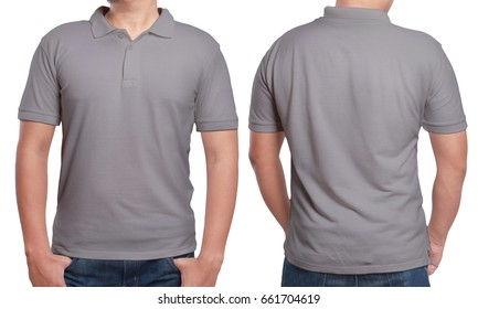 Gray polo t-shirt mock up, front and back view, isolated. Male model wear plain grey shirt mockup. Polo shirt design template. Blank tees for print