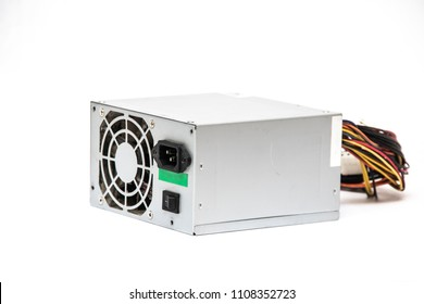 Gray power unit for computer on a white background, isolated