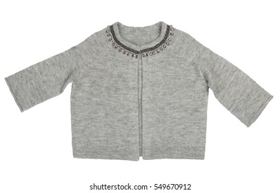 gray pullover isolated on white.clipping path
