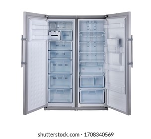 Gray refrigerator door open isolated on white background