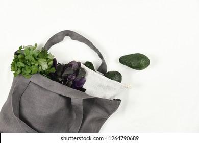 Gray Reusable Eco Friendly Bag with Avocado