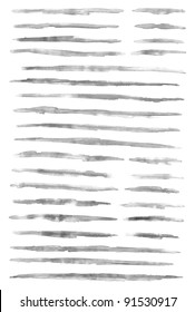 Gray scale watercolor brush stroke isolated on white background
