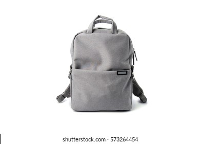 gray school bag isolated on white gackground