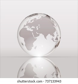 Gray shining transparent earth globe with Eurasia, Africa and Australia continents laying on glass surface and reflecting in it. Bright and shining design. illustration.