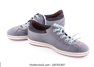 Gray shoes isolated on white background.
