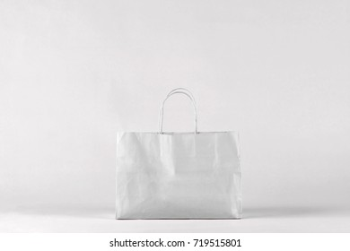 Gray shopping bag. Concept of shopping with space for your text or logo