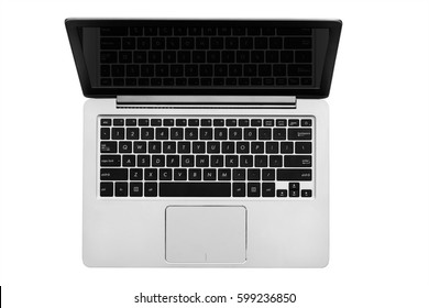Gray silver computer notebook top view isolated on white background