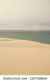 The gray sky breaks abruptly on the winter sea harmoniously marked by the yellow sand dune
