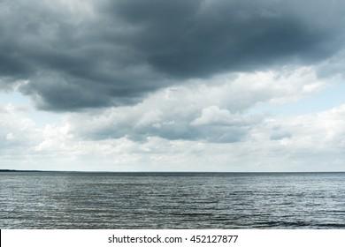 Gray sky over gulf of Riga, Baltic sea.