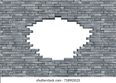 gray slate stone rock wall with breakthrough hole isolated on white background