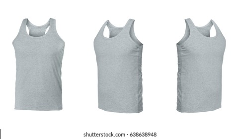 Gray sleeveless T-shirt. t-shirt front view three positions on a white background