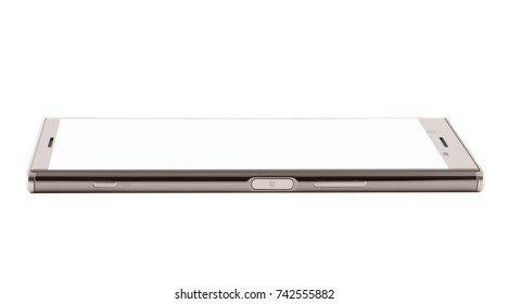 gray smartphone with optic edges. side view of mobile phone on white background