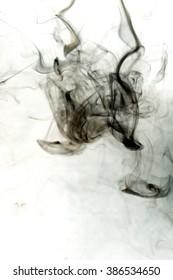Gray smoke toxic on white background.