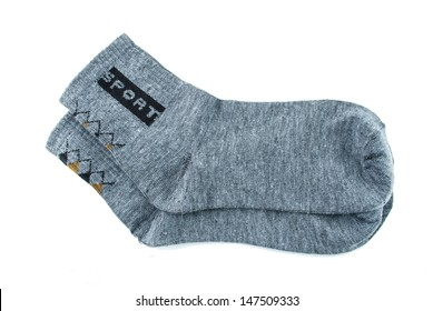 gray sock sport isolated on a white background