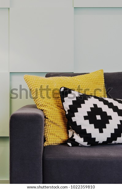 Gray Sofa Bright Yellow Black White Stock Photo (Edit Now ...