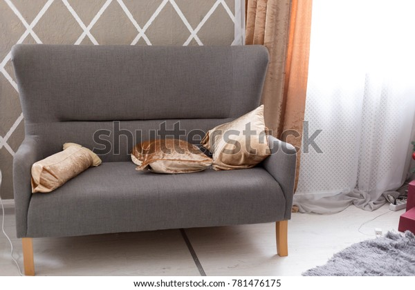 Excellent Gray Sofa Grey Sofa Pillows Golden Stock Photo Edit Now Caraccident5 Cool Chair Designs And Ideas Caraccident5Info