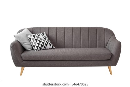 Gray soft sofa with 2 pillows. Modern design sofa isolated on white background