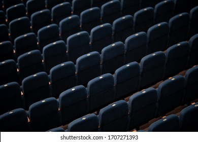Gray soft velvet chairs in the theater concert hall