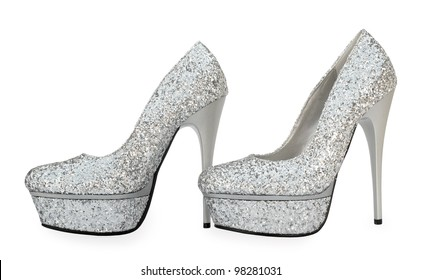 Gray sparkling high heels pump shoes