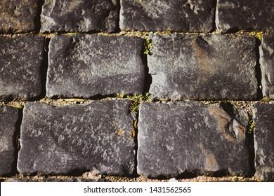 Gray square cobblestones close-up. The stone surface of the road. The road of stones and cobblestones.