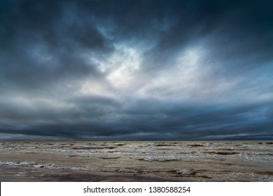 Gray and stormy Baltic sea.